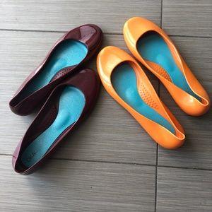 OKA b. OKAl OKA Jelly Flats Orange & Maroon sz 10